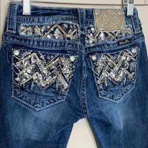 Miss Me 24 Signature Boot Jeans Dark Bling Pockets